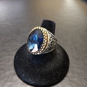 Silver tone blue stone ring